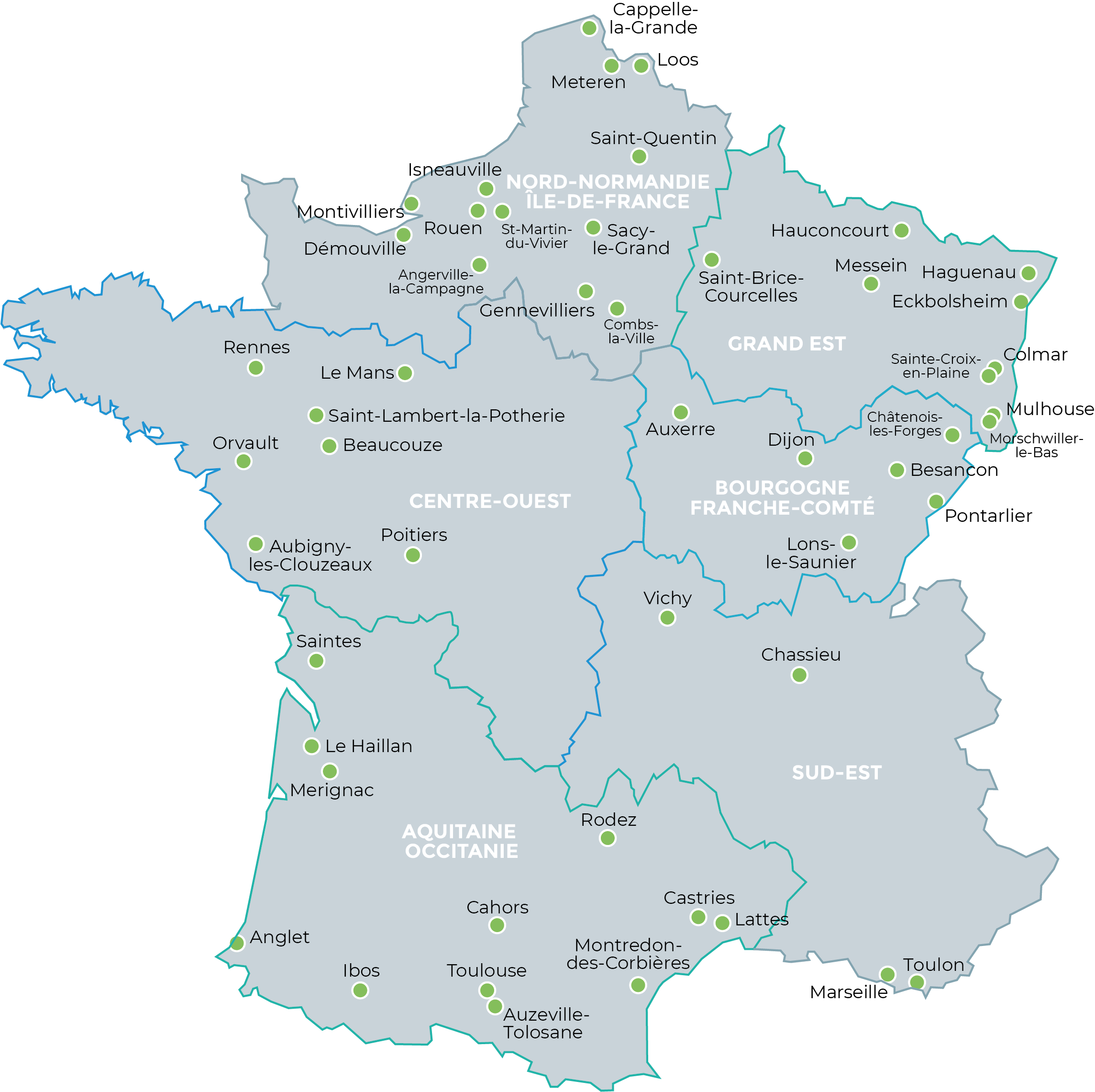 Carte de France de nos agences Asten Santé